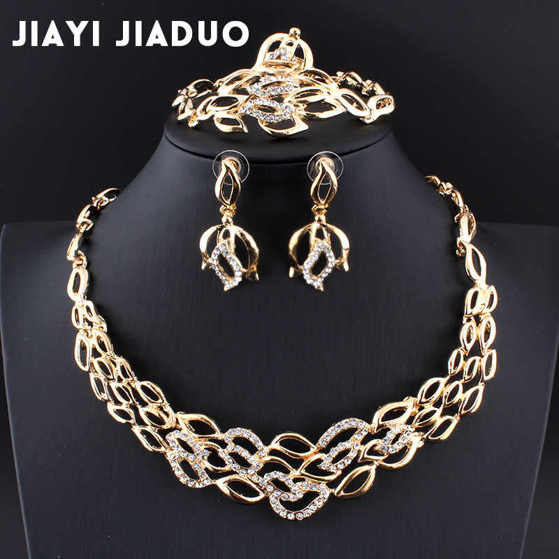 jiayi jiaduo New bridal jewelry set gold-color crystal necklace earrings necklace for Indian women's clothing gift parure bijoux