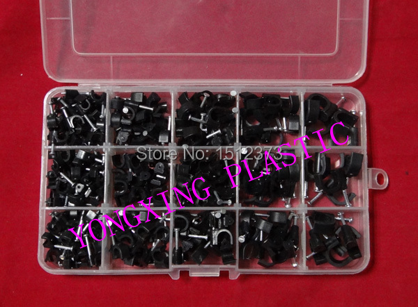 цена на 195 piece/box circle nail cable clips 5mm,6mm,7mm,8mm,10mm black color mix in box fix the cable