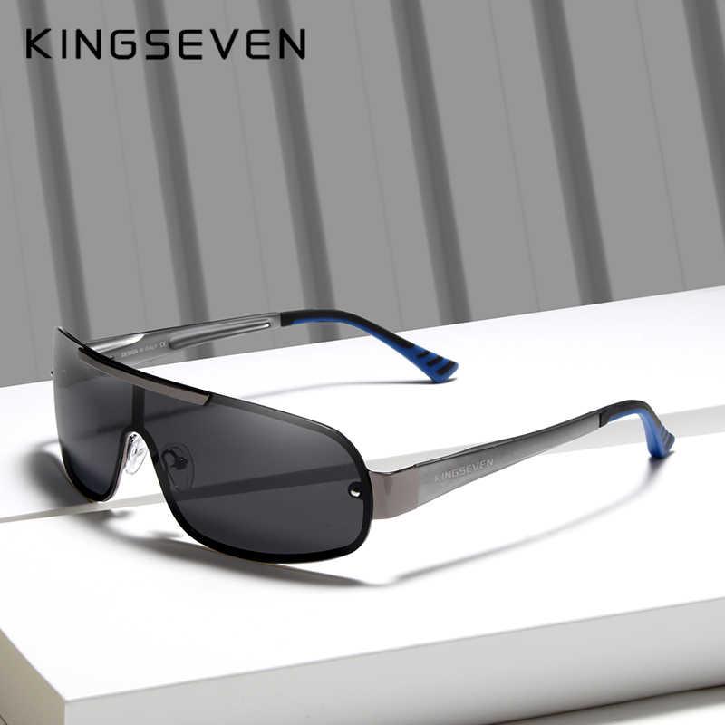 KINGSEVEN дизайнерские алюминиевые мужские очки, поляризованные солнцезащитные очки, очки с интегрированными линзами, оригинальные очки, Новинка
