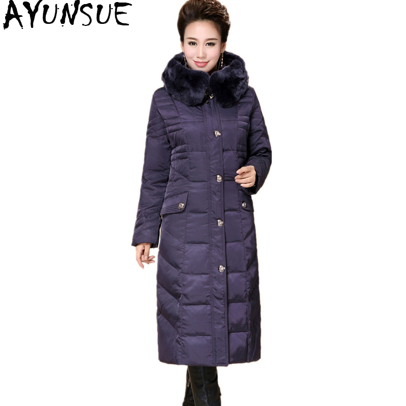 AYUNSUE 2018 Winter Duck Down Jacket For Women Long Coat Parkas Thicken Female Warm Clothes Rex Rabbit Fur High Quality WYQ815 2015 new hot winter thicken warm woman down jacket coat parkas outerwear rabbit fur collar luxury slim long plus size xl high