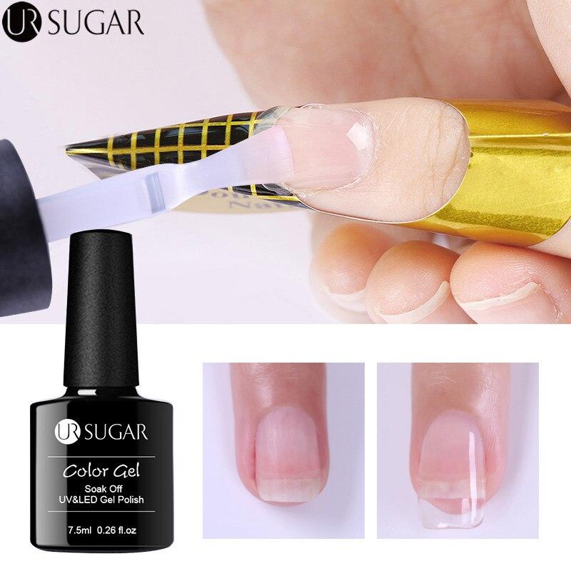 UR SUGAR 7,5 мл акрил поли расширение гель быстрое строительство гель для ногтей Ясно розовый телесного цвета Типсы UV гель камуфляж ногтей