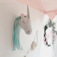Украшение на стену в виде головы животного, единорог, лебедь, мягкая игрушка, кукла для девочки, детская комната, Декор, Настенное подвесное крепление, подарок на день рождения
