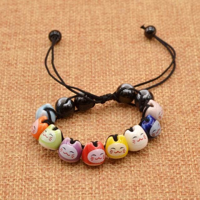 Handmade Ceramic Cat Beads Bracelet