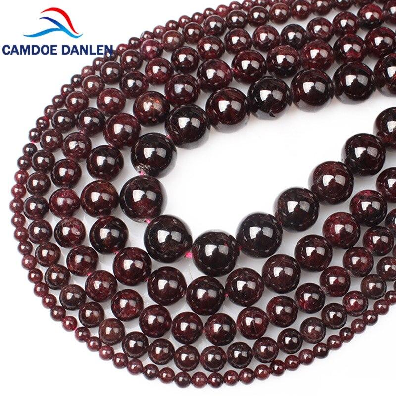 Camdoe Danlen Naturliche Edelstein Perlen Dark Red Granat Edelstein