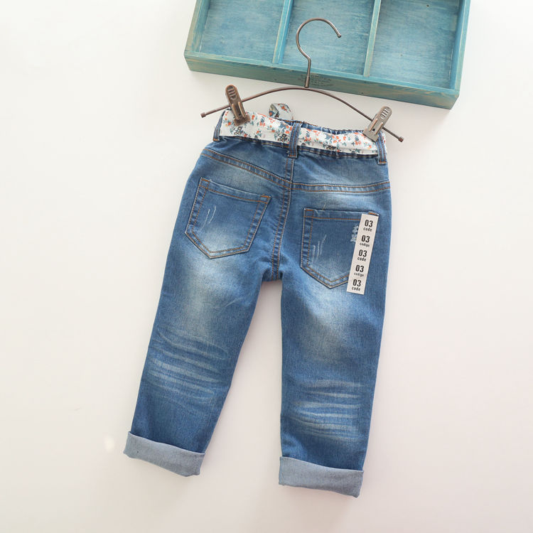 Image 2 - New Arrival Baby Girls Fashion Denim Jeans Girls  Flower belt Skinny Jeans Kids Spring Autumn  Jeans Child Long Pants-in Jeans from Mother & Kids