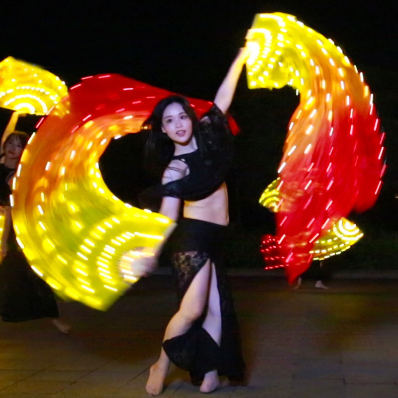 90 180cm Adult Luminous Yellow Orange Red Light LED Fan Veils Scarf for Women Bellydance Oriental
