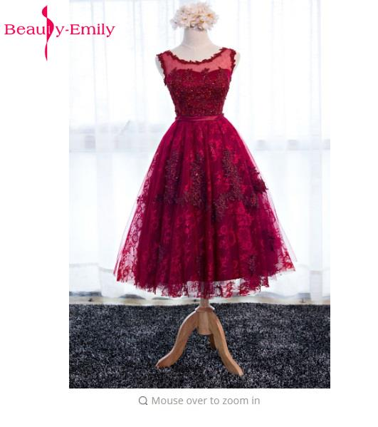 Beauty Emily Wine Red Lace Flower 3/4 Sleeves Short A-line   Bridesmaid     Dresses   2017 Party Gown Custom Plus Size Formal   Dress