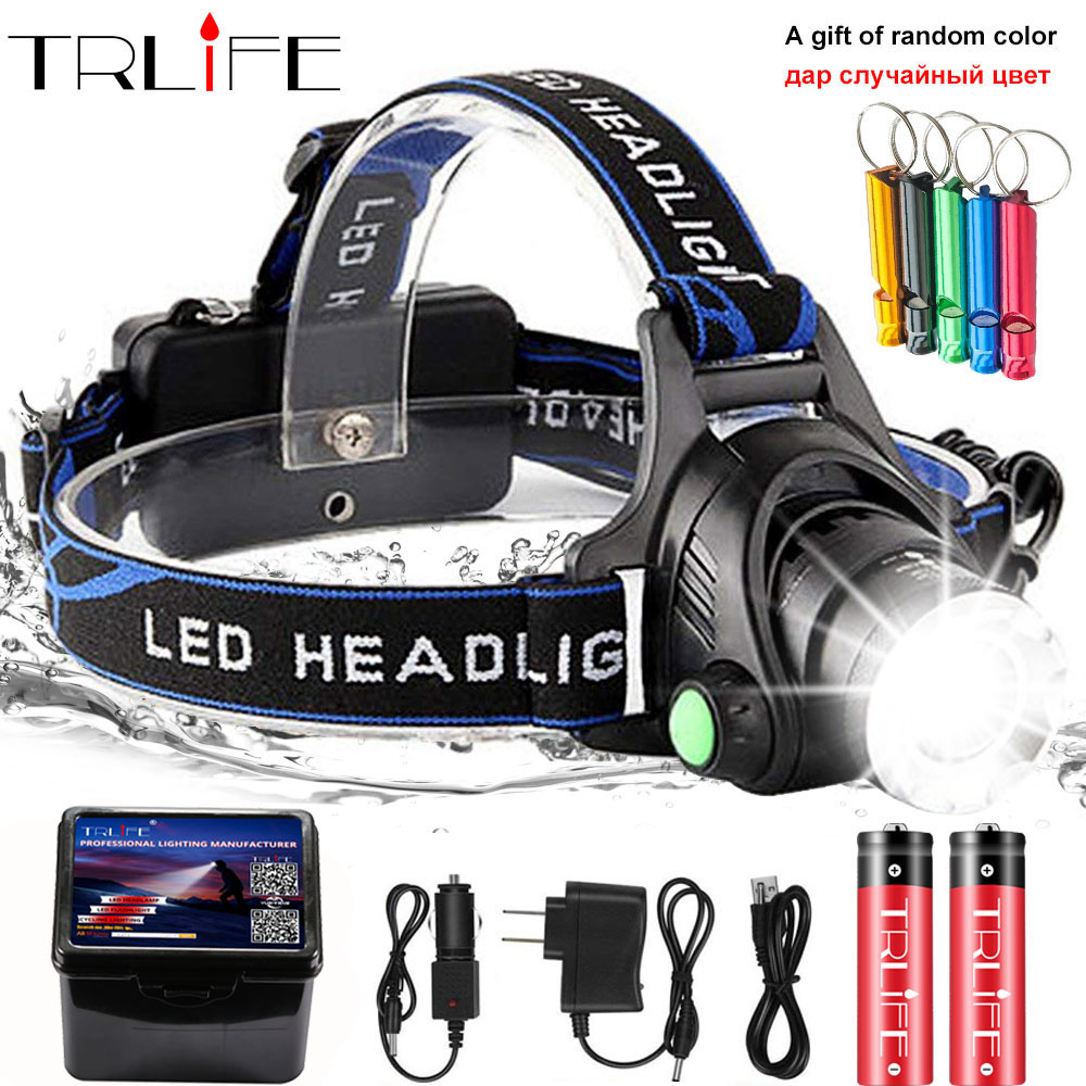 20000lums LED Headlight XML-V6/L2/T6 Zoom Led Headlamp Torch Flashlight Head lamp use 2*18650 battery for Bicycle light get gift