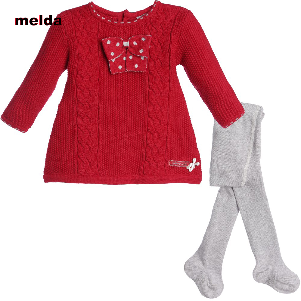 ФОТО melda Autumn Winter Red Baby Clothing Set Female Baby Sets Fashion Solid Color Bow-knot Knitted Dress+Pantyhose Two-Piece Set