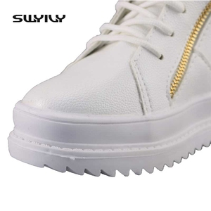 Image 5 - SWYIVY Women Sneaker White High Top Canvas Shoes Wedge Platform Sneakers Women Winter/summer Sneakers Wedge Shoes For Woman