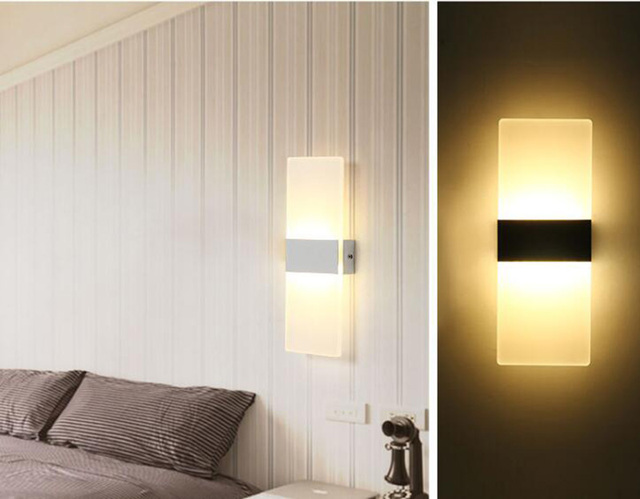 Lmpara de pared moderna acrlico sconce para dormitorio bao pared