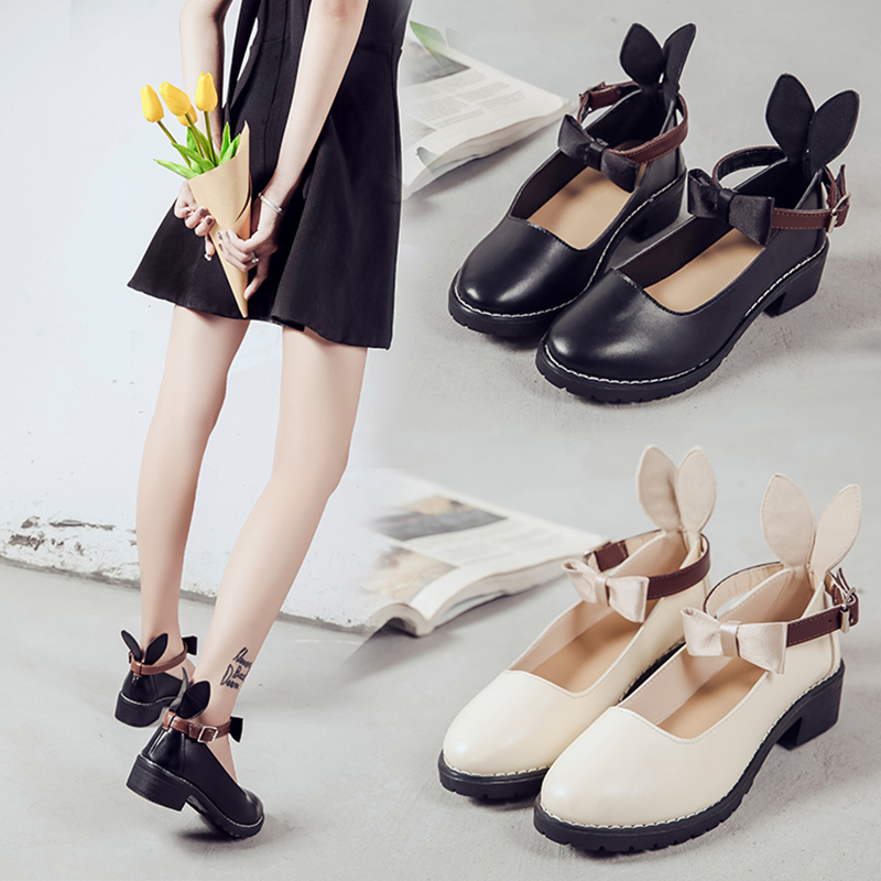 Lovely Student Lolita Shoes College Mori Girl Shoes Rabbit Ears Shoes JK Commuter Uniform PU Leather Shoes Kitten heels