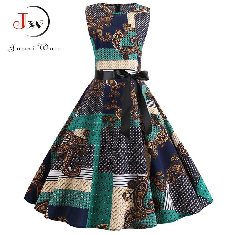 Summer Dress 2019 Women Robe Femme Vintage Dress Boho Print Elegant Party Dresses Belt Vestidos Plus Size Casual Midi Sundress