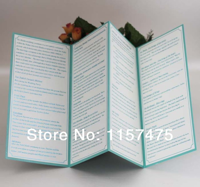 hi9004 customized 4 folded wedding programs order of service with