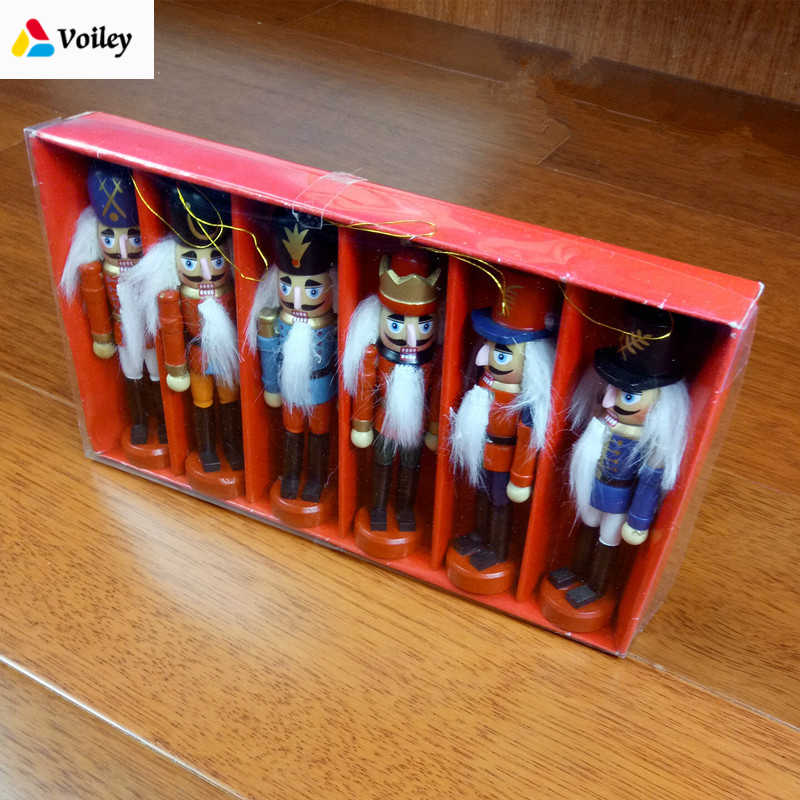 Christmas Decoration 1pcs 12cm Zakka Wood Made Nutcracker Puppet New Year Christmas Desktop Ornaments Drawing Walnuts Soldiers,Q