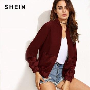 d717fd409a9 Шеин бордовый повседневное цвет блок карман лоскутное панель бомбер на молнии  куртка осень современная леди модные женские туфли пальт