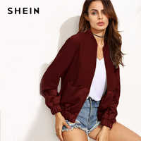 SHEIN Maroon Casual Color Block Pocket Patchwork Panel Bomber Zipper Up Jacket Autumn Modern Lady Fashion Women Coat Outerwear