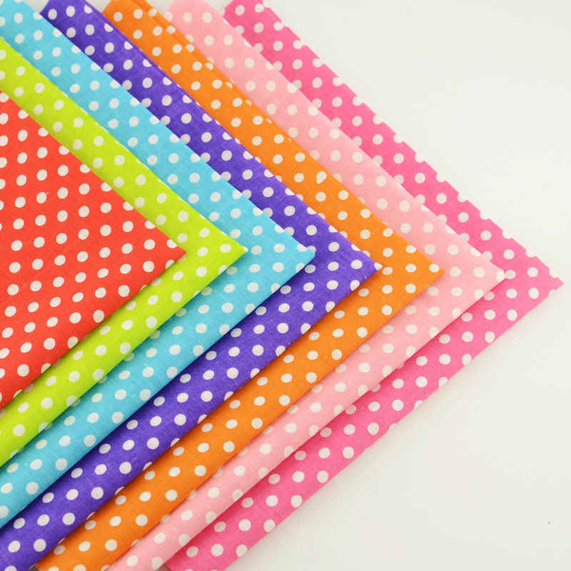 7 PCS Cotton Fabric for White Dots Printed Patchwork Different Color Quilting Sewing Scrapbooking Cloth Fat Quarter Craft Bundle