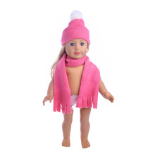 Doll Clothes Accessories Cute Hat Scarf Fit 18 Inch American Doll & 43 Cm Born Doll For Generation T