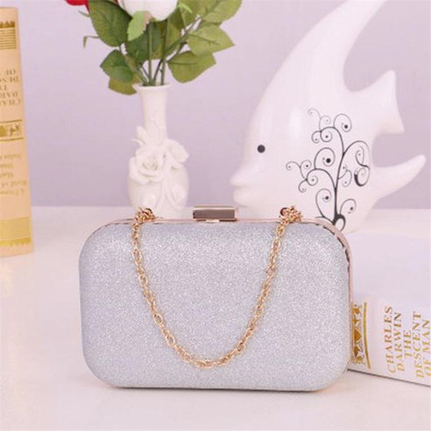 20181Pcs Fashion Women Clutch Box Evening Party Glitter Chain Hand Bags Wallet Matte chrome powder hard box holding bag embrague