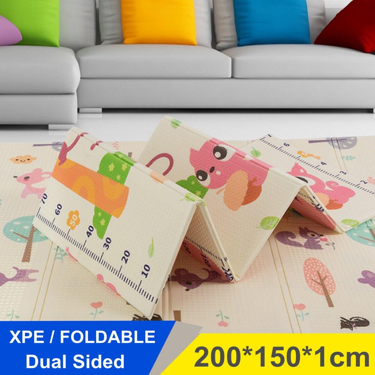 XPE pliable bébé enfants tapis de jeu de sol dessin animé infantile pique-nique coussin ramper Fitness Pad enfants cadeaux 200x150 cm étanche