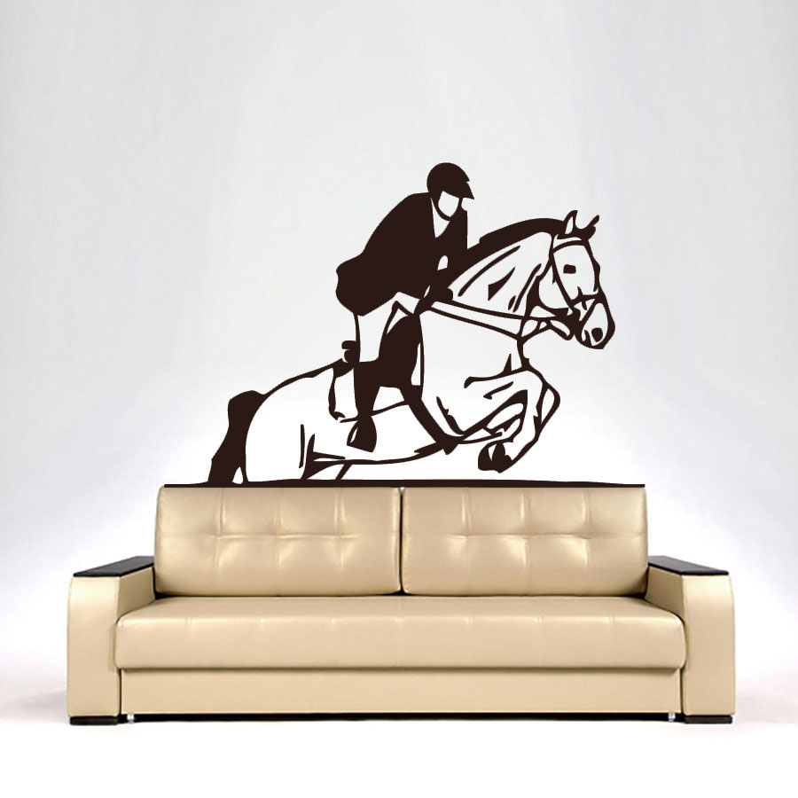 ZOOYOO A Man Riding Horse Wall Sticker Living Room Art Vinyl Removable Wall Decals Home Decor For Nursery