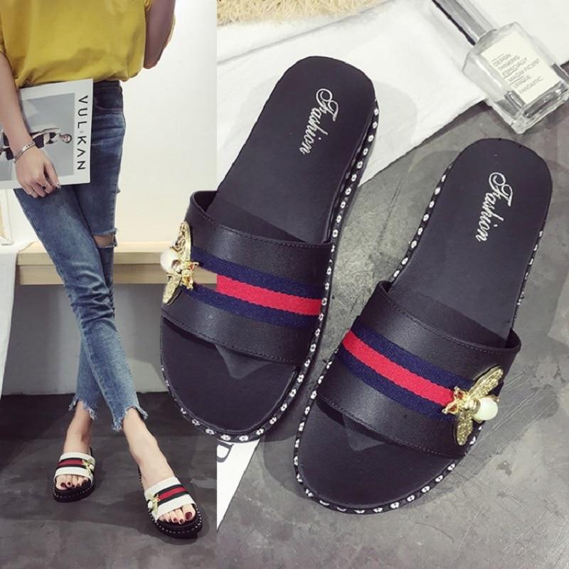 Xllcwc 2019 Summer New Designers Bee Grosgrain Slides Shoes Women flip flops brand Slippers Flat Bottom Slides Pantuflas Mujer