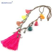 Ожерелье ручной работы с разноцветными подвесками в стиле бохо