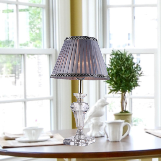 TUDA 30X52cm Free Shipping Elegant Purple Folding Cloth Lampshade Table Lamp Luxury K9 Crystal Table Lamp Home Decor Table Lamp