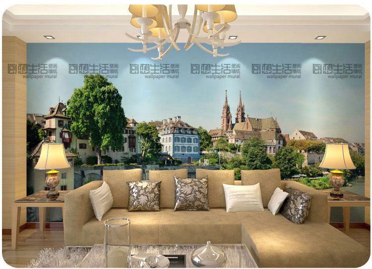 Mural French Town Scenic Mural D Wallpaper Living Room Tv Wall Background D Wallpaper Personality Customization In Wallpapers From Home Improvement On