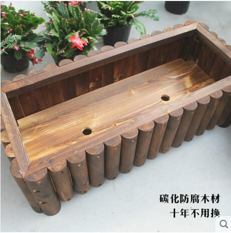 Rectangular flowerpot special vegetable planting box solid wood outdoor flowerpot rack anti corrosion wood in Storage Holders Racks from Home Garden