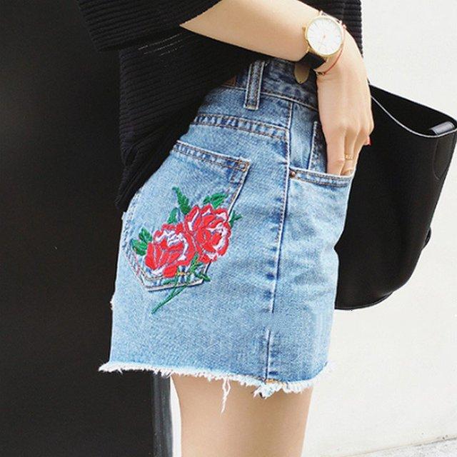 Персонализированные Вышивка Вырос Шорты Женщины 2017 Летние Высокой Талии Шорты Джинсовые Тонкий Pantalones Cortos Mujer Плюс Размер Короткие Femme