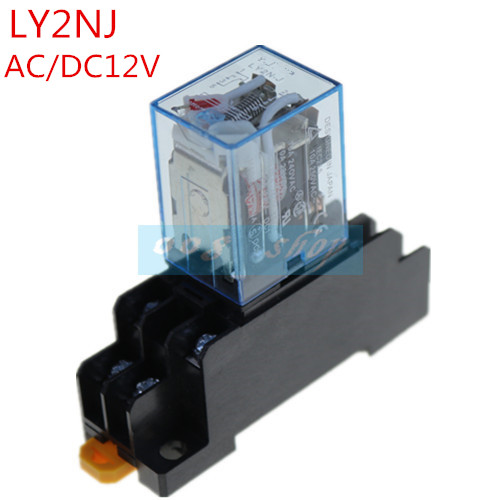 1 sets/Lot Power Relay LY2NJ 12V DC Coil Miniature Relay DPDT 8 Pins 10A LY2 HH62P LY2 JQX-13F With PTF08A Socket Base