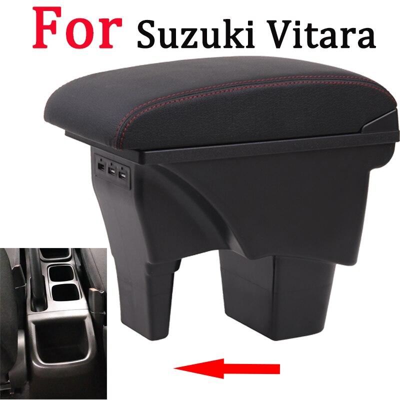 Para Suzuki Vitara caja de reposabrazos universal de la consola del centro del coche accesorios de modificación caja doble elevado con USB