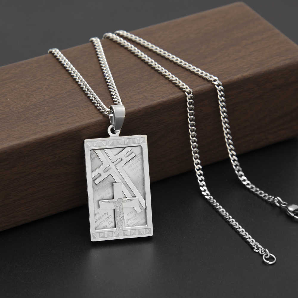Uwin Hip hop Vintage Crucifix Jesus Pendant 316L Stainless Steel Fashion Charm Religious Christian Tag Jewelry Necklace Men