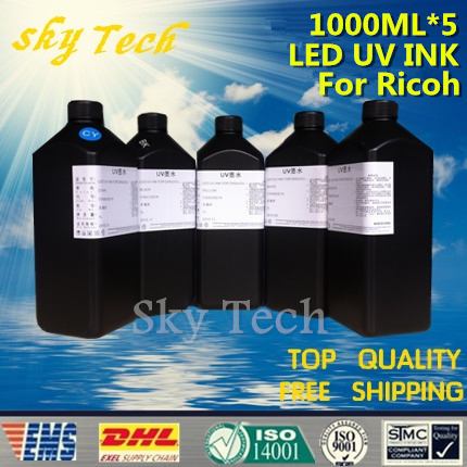 LED UV INK 1000ML*5 . For Ricoh print head UV Printer ,For Print On leather paper etc soft materials ,K C M Y White 5 color led uv curable ink for epson 1390 printer head printing on hard materials for 3d effects 1000ml pcs 6c