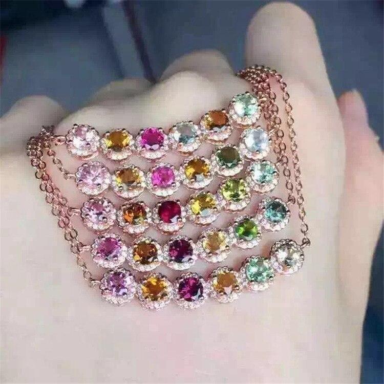 KJJEAXCMY boutique di gioielli argento 925 placcato oro rosa con tormalina naturale clavicola collana chain. - 5