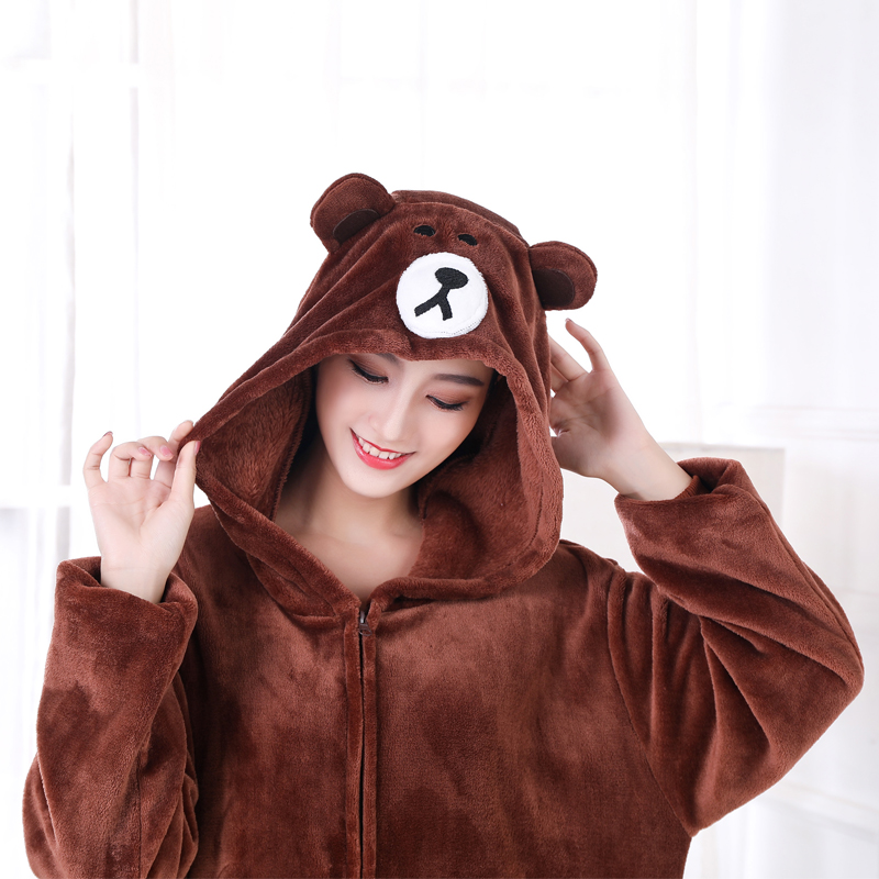 Adorable Brown Bear Kigurumi Onesie For Adults One-Piece Warm Flannel Animal Zipper Pajamas For Halloween Cosplay Party Costume