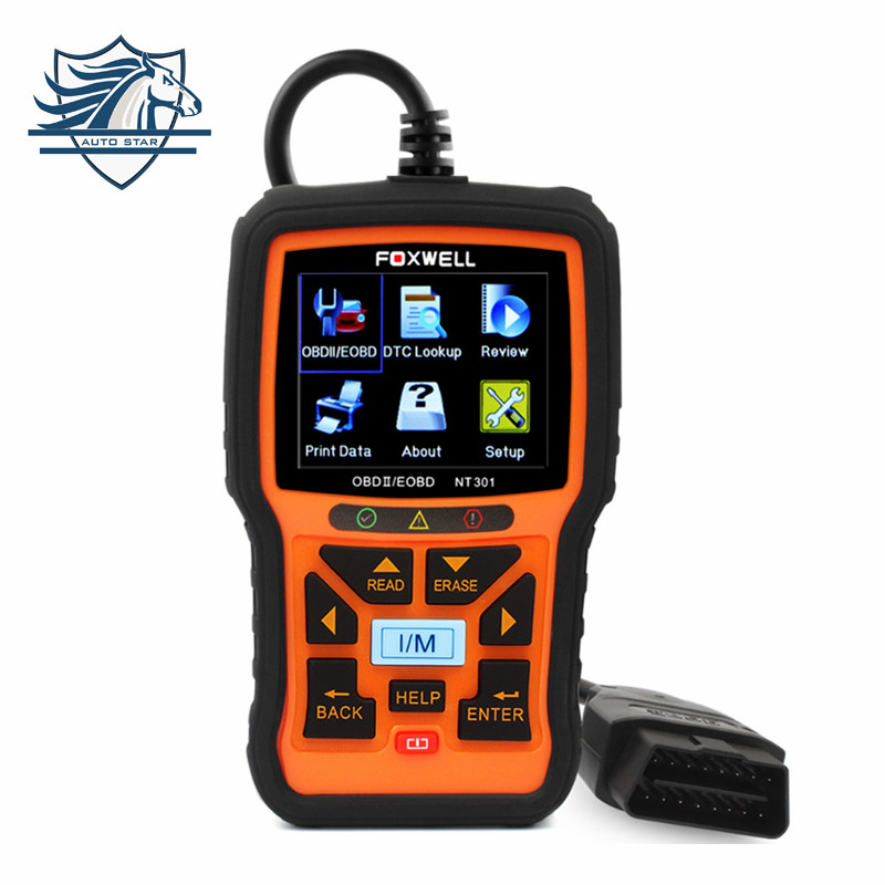 Universal OBD2 Auto Scanner Foxwell NT301 Auto Diagnostic Tool Engine Scanner Fault Code Reader with O2 sensor Same As AL519 free shippinng diy om580 obd scanner automotive obd2 eobd car code reader for engine abs dsc srs fault diagnostic tool