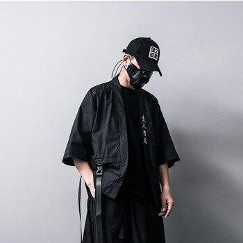 Mens Black Cardigan | #0569 Streetwear Kimono Jacket Men Thin White Black Cardigan Hip Hop Jacket Windbreaker Loose Ribbons Embroidery Cotton Linen