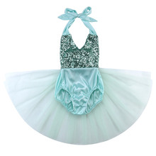 New Arrival Summer Child Sequins Baby Girl Tulle Dress Romper Bodysuit Sunsuit Outfits Clothes