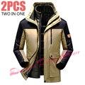 Thickening Winter Jacket Men/Male Warm Down Parka Coat Jacket+Liner 2PCS Windbreaker Waterproof Windproof Brand-Clothing 5XL 6XL