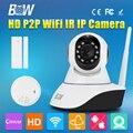 BW IP CCTV HD Беспроводной Wi-Fi Камера 720 P Телеметрией Видео Камеры наблюдения Связь Сигнализация + Датчик Двери + Детектор Дыма