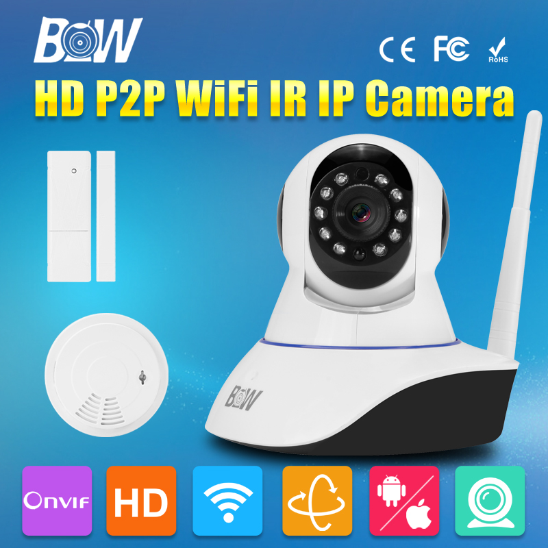 BW IP CCTV HD Wireless Wifi Camera 720P Pan Tilt Video Surveillance Camera Linkage Alarm System + Door Sensor + Smoke Detector bw wireless wifi door