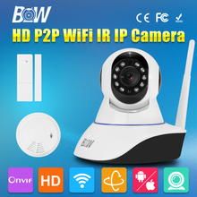 BW IP CCTV HD Wireless Wifi Camera 720P Pan Tilt Video Surveillance Camera Linkage Alarm System + Door Sensor + Smoke Detector