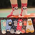 Novel Cute Animal Cotton Socks for Women Fashion All-season Cartoon Print Women Socks 6 Colors for Spring Autumn and Winter