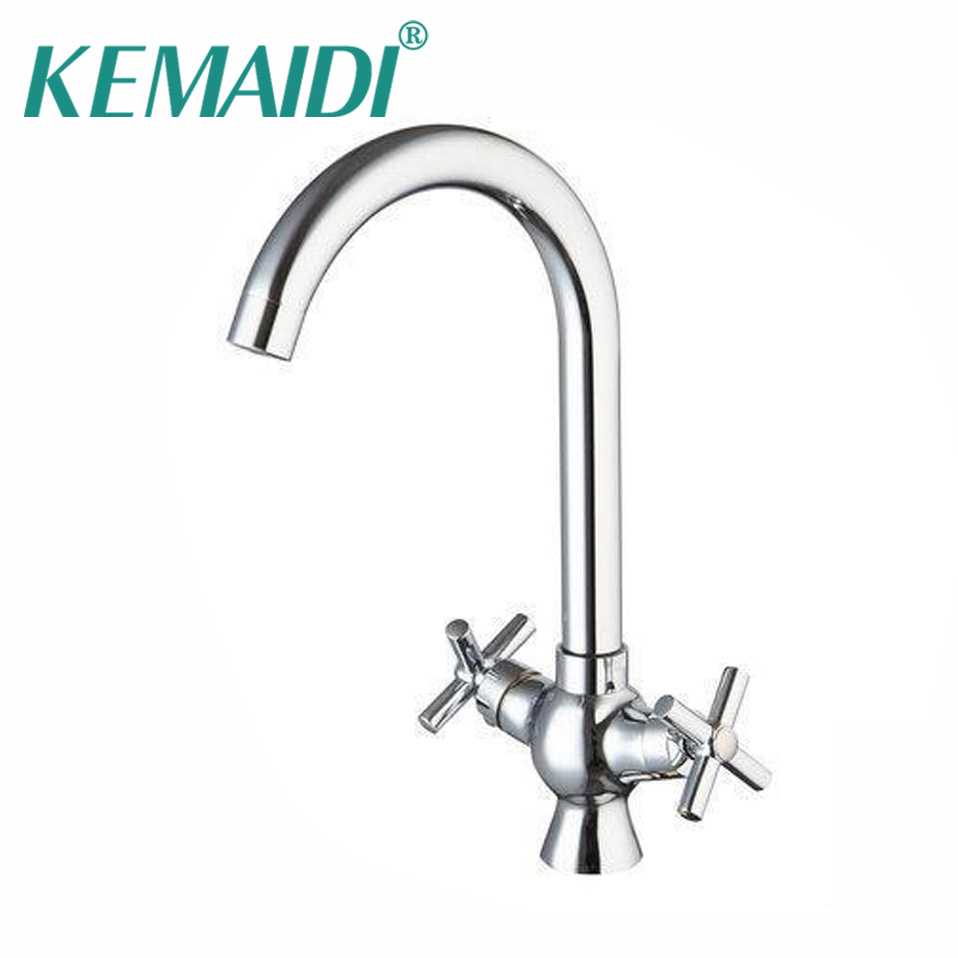 KEMAIDI Hot Cold Water Tap Stream Deck Mount Double Handles Wash Basin Sink Vessel Kitchen Torneira