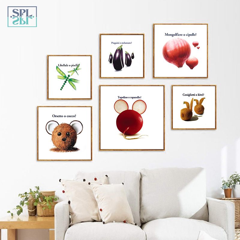 SPLSPL Creative Art Canvas Painting Poster Fruits Vegetables Wall Pictures For Dining Hall Kitchen Home Decor No Frame