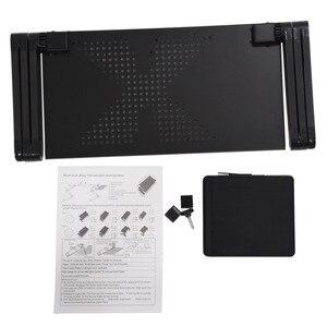Image 5 - נייד מתקפל מתכוונן מחשב נייד שולחן מחשב שולחן Stand מגש עבור ספה מיטה שחור