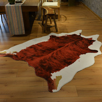 Wine red cowhide carpet large carpets for living room tapetes para sala de estar faux fur rug fashion alfombra